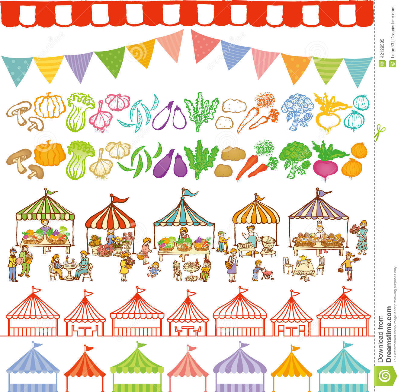 Market Place Illustrations And Event Tents Frames. Stock Vector.