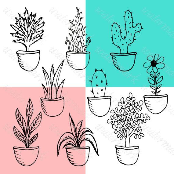 Hand drawn Doodle potted plants clipart, flourish digital, flower.