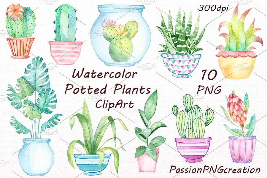 Potted plant clipart Photos, Graphics, Fonts, Themes, Templates.