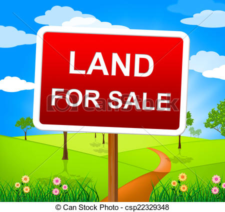 Drawing of Land For Sale Means On Market And Purchase.