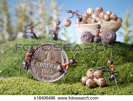 Stock Illustration of ants market, purchase, ant tales k18406486.