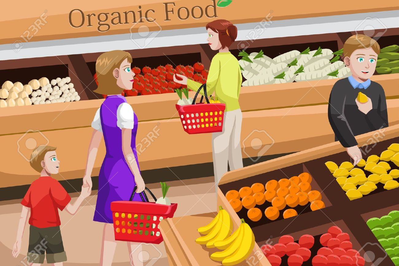 People purchase food in the market clipart.
