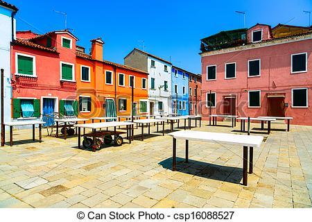 Stock Photo of Venice landmark, Burano old market square, colorful.
