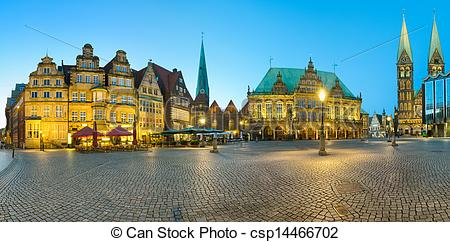 Stock Photography of Panorama of Bremen Market Square.