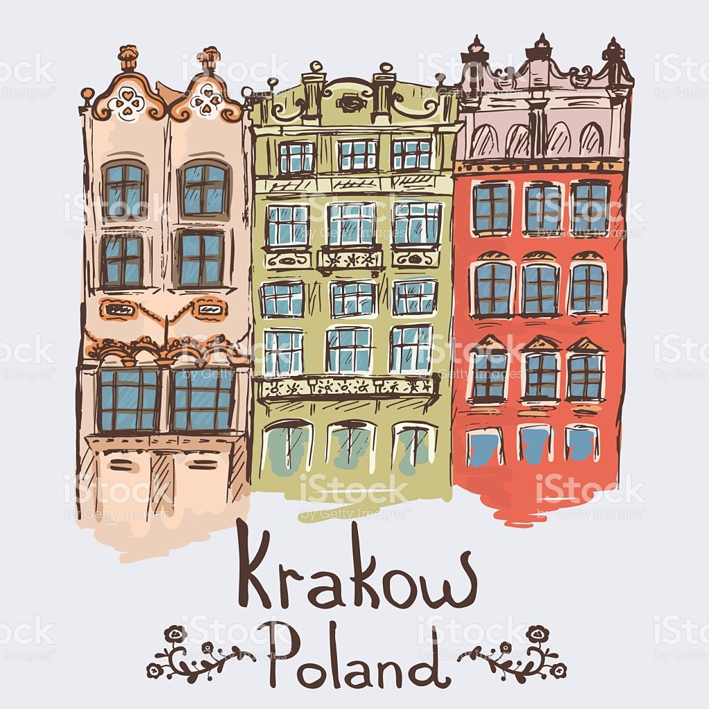 Sketch Of Buildings On Market Square In Krakow Poland stock vector.