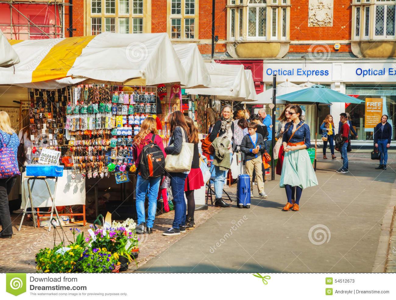 Street Souvenir Shops At The Market Square In Cambridge Editorial.