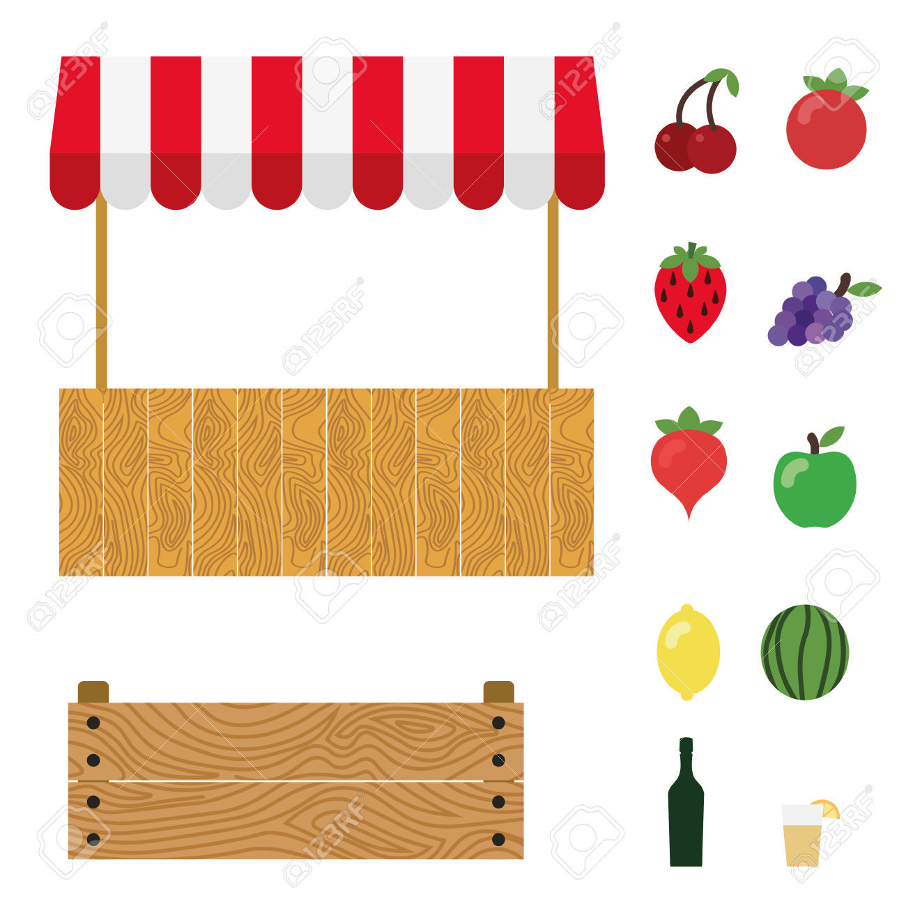 Market Tent With White And Red Striped. Market Stall, Wooden.