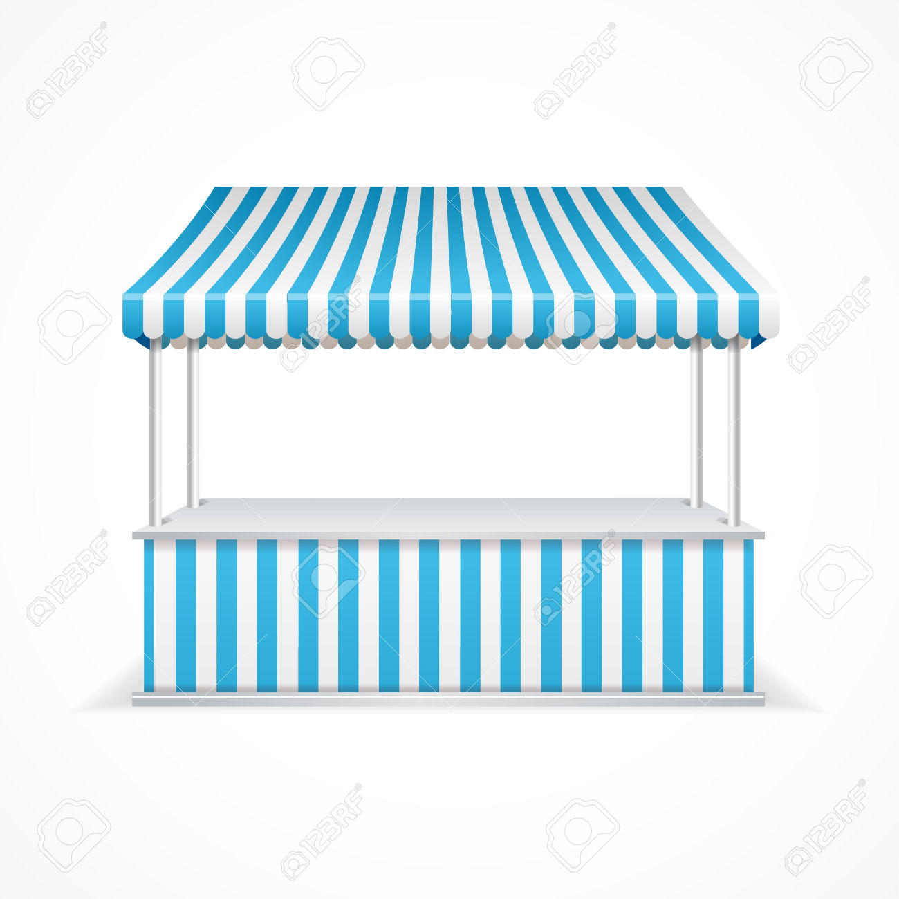 Market Stall With Blue And White Stripes. Vector Illustration.