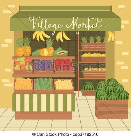 Vector Clip Art of Farmers market. Street food.