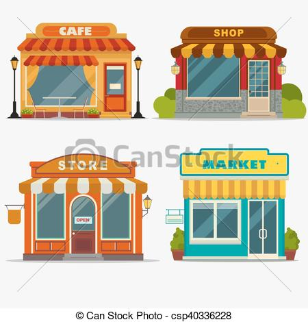 Vector Illustration of Market, Street shop, small store front.