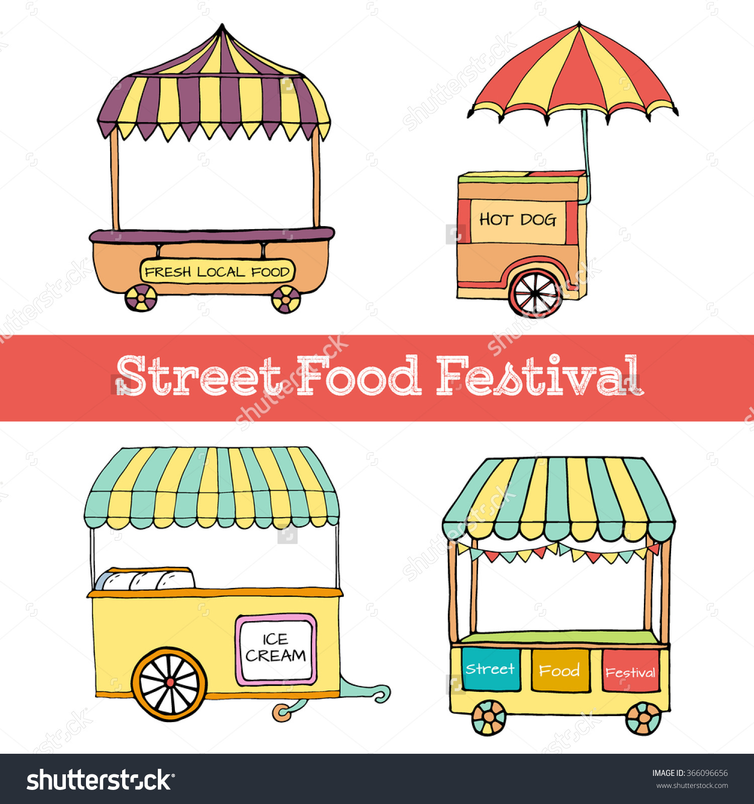 Hand Drawn Sketch Street Food Transport Stock Vector 366096656.