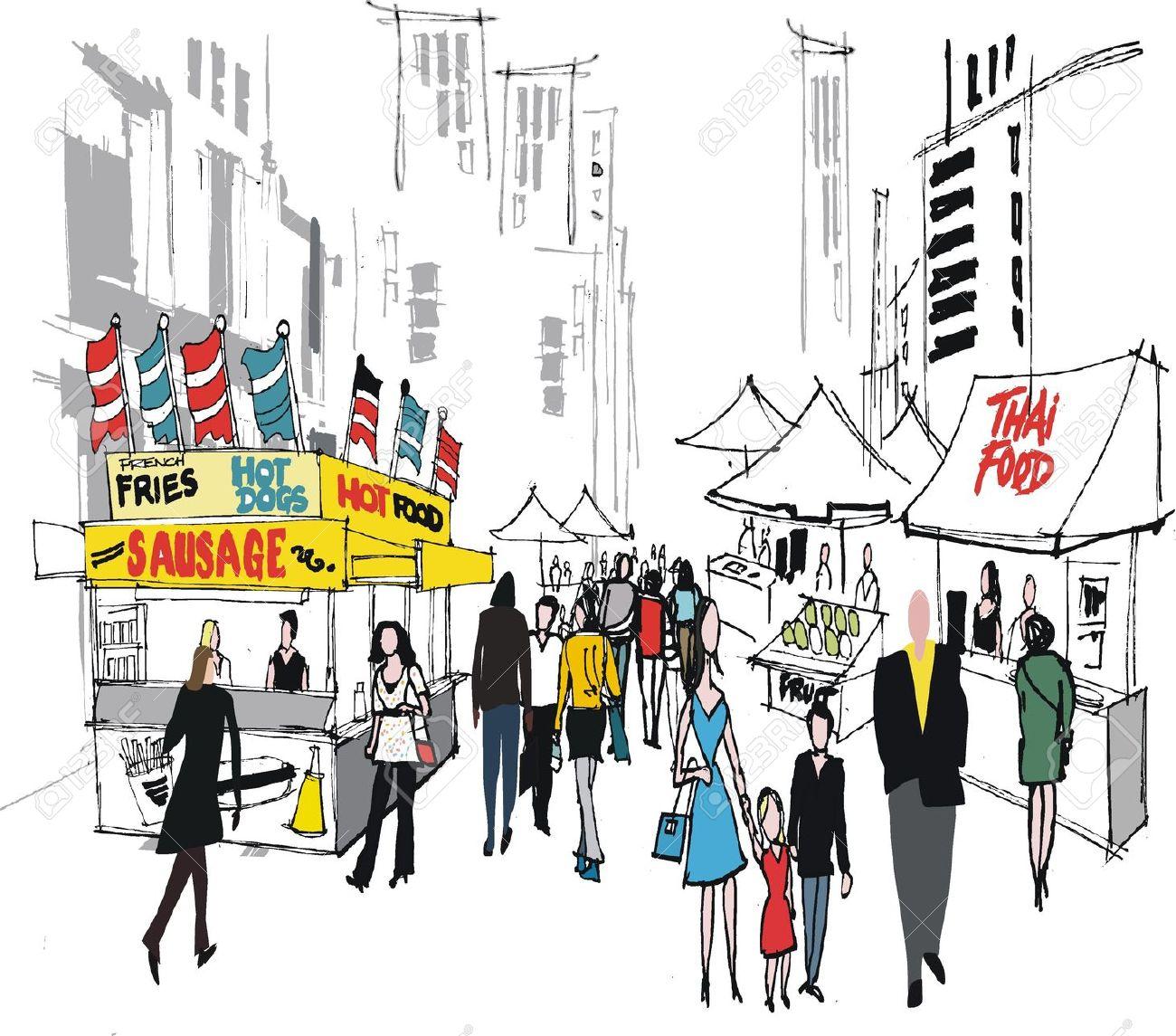 Vector Illustration Of Street Market, New York. Royalty Free.