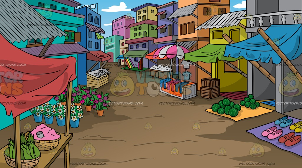 A Rural Street Market Background Cartoon Clipart.