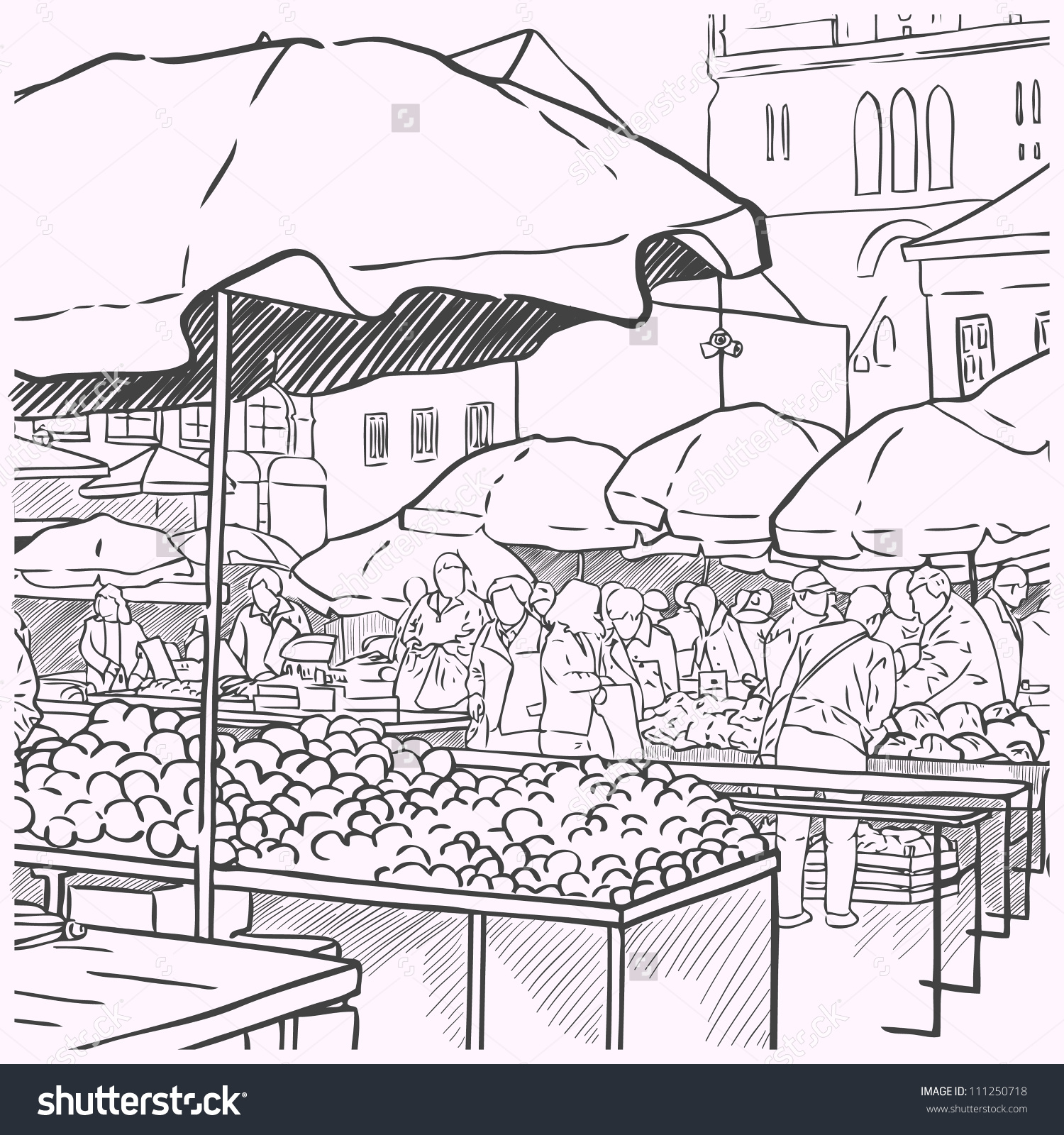 Outdoor market tents and people clipart drawing.
