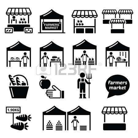 Outdoor Market Tents And People Clipart Black And White.