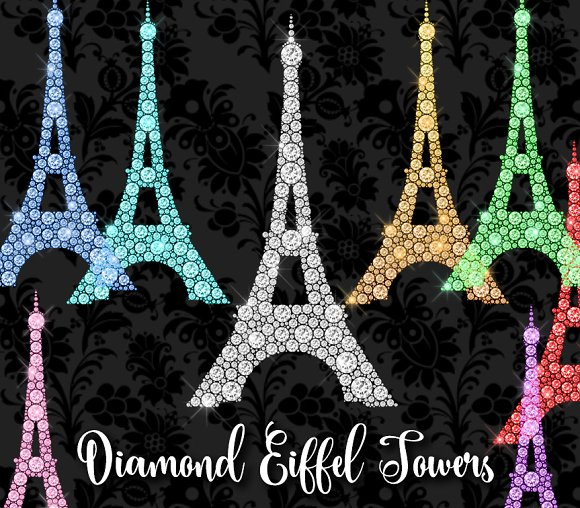 Diamond Eiffel Tower Clipart ~ Illustrations on Creative Market.