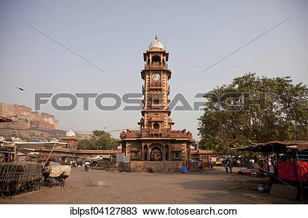 Stock Photo of Clock tower Sardar Market, Jodhpur, Rajasthan.