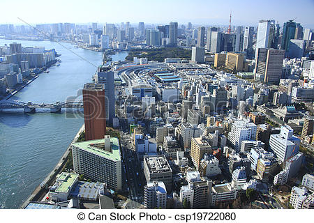 Pictures of Sumida River, the Tsukiji market, and Tokyo Tower.