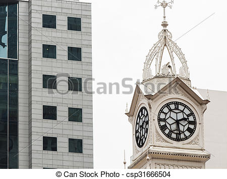 Stock Photography of Clock tower of the Lau Pa Sat Market in.