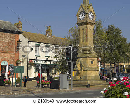 Stock Photograph of England, North Yorkshire, Thirsk. The clock.