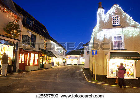 Stock Photography of England, Norfolk, Holt. Christmas decorations.