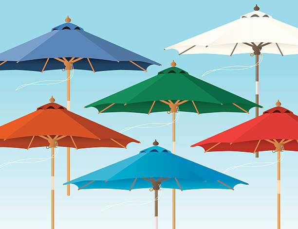 Cartoon Of A Patio Umbrella Clip Art, Vector Images.