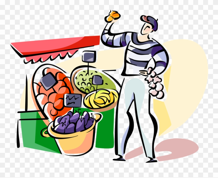 French Outdoor Vendor Vector Image Illustration Of.