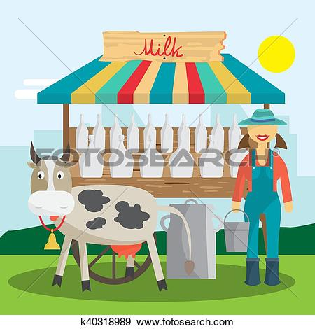 Clip Art of Farmer selling milk products in local market. Woman.