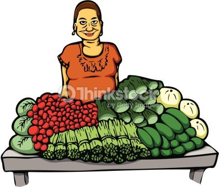 Woman At Market Vector Art.