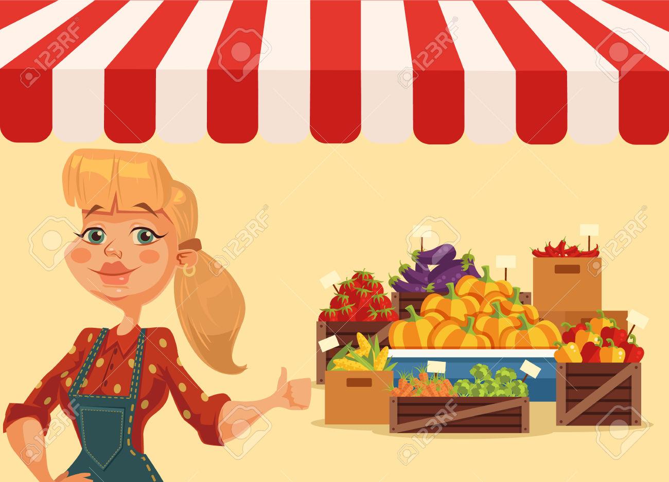 Farm Food Market. Woman Farmer. Fresh Food From Farm. Vegetables.