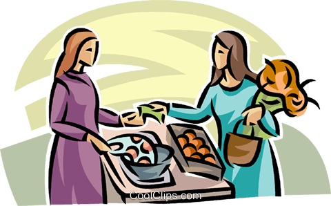 woman buying produce at the market Royalty Free Vector Clip Art.