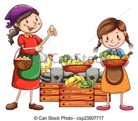 Vector Clip Art of Girl Vegetable Tomato Harvest Basket.