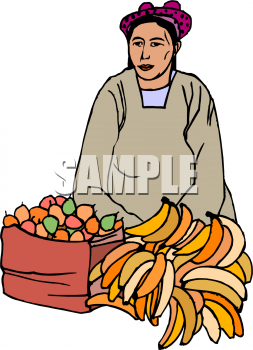 A Woman Selling Fruit Clipart Image.