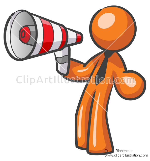 ClipArt Illustration Orange Man Marketer Advertising with.