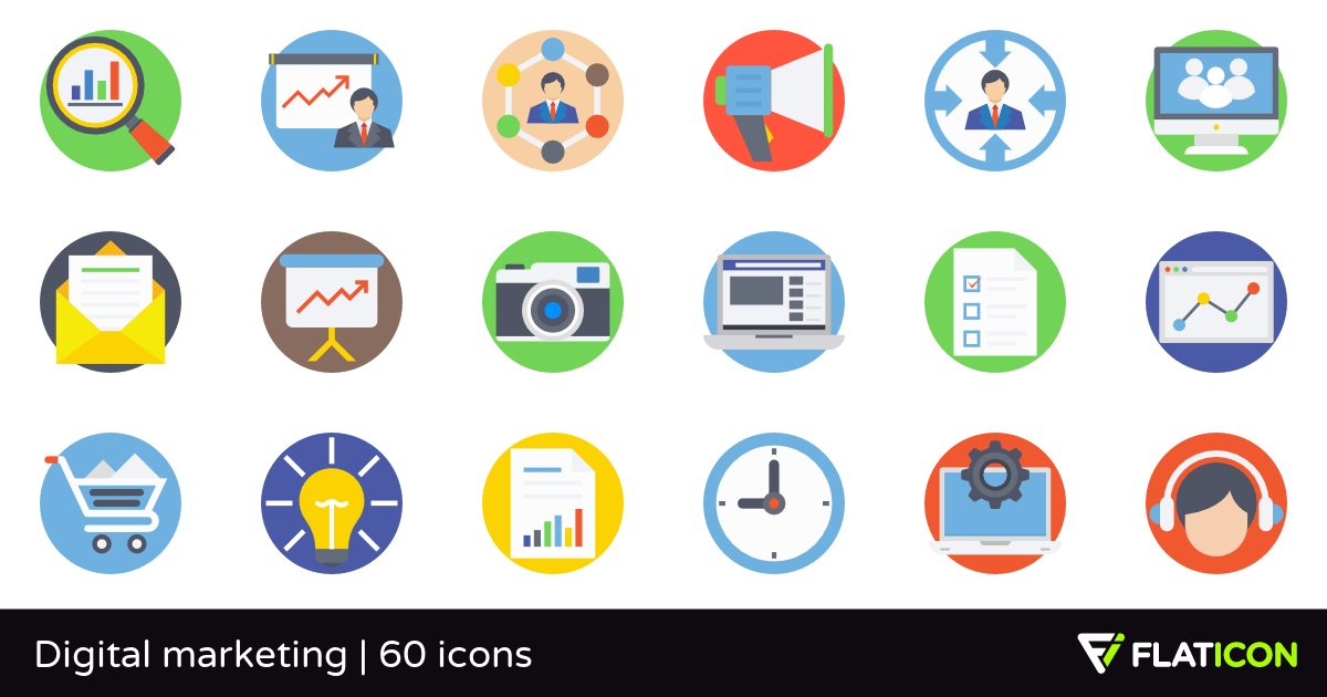 Digital marketing 60 free icons (SVG, EPS, PSD, PNG files).