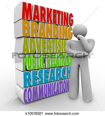 Clipart of Marketing Plan Thinking Strategy Advertising.
