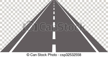 Straight road with white markings Vector Clip Art Illustrations.
