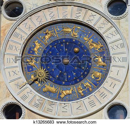 Stock Photo of Astronomical Clock Tower. St. Mark's Square (Piazza.