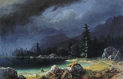 Klanško jezero v nevihti.