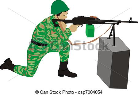 Drawing of The marksman with a machine gun. Fire.