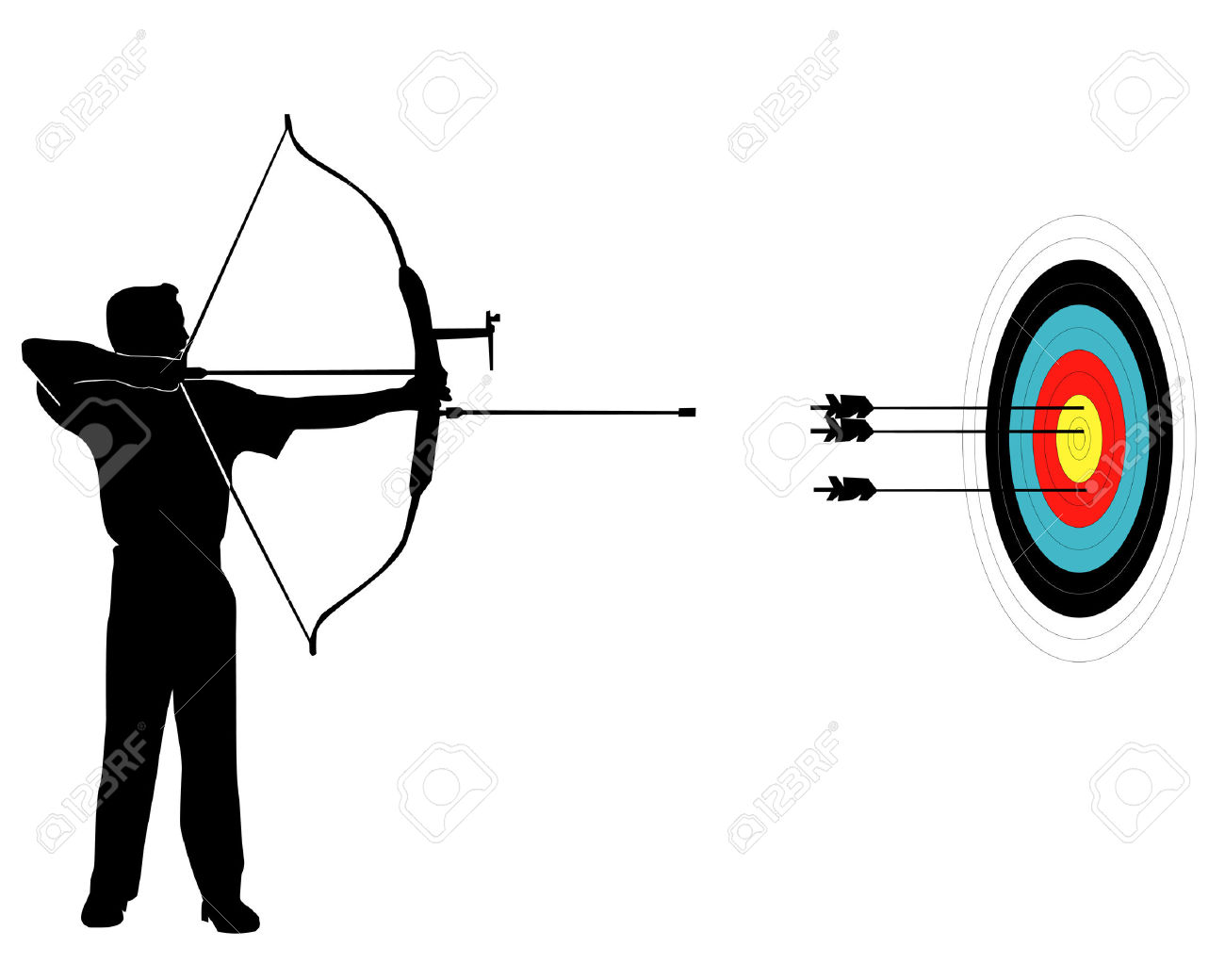 Sports Marksman From Onions On A Target On A White Background.