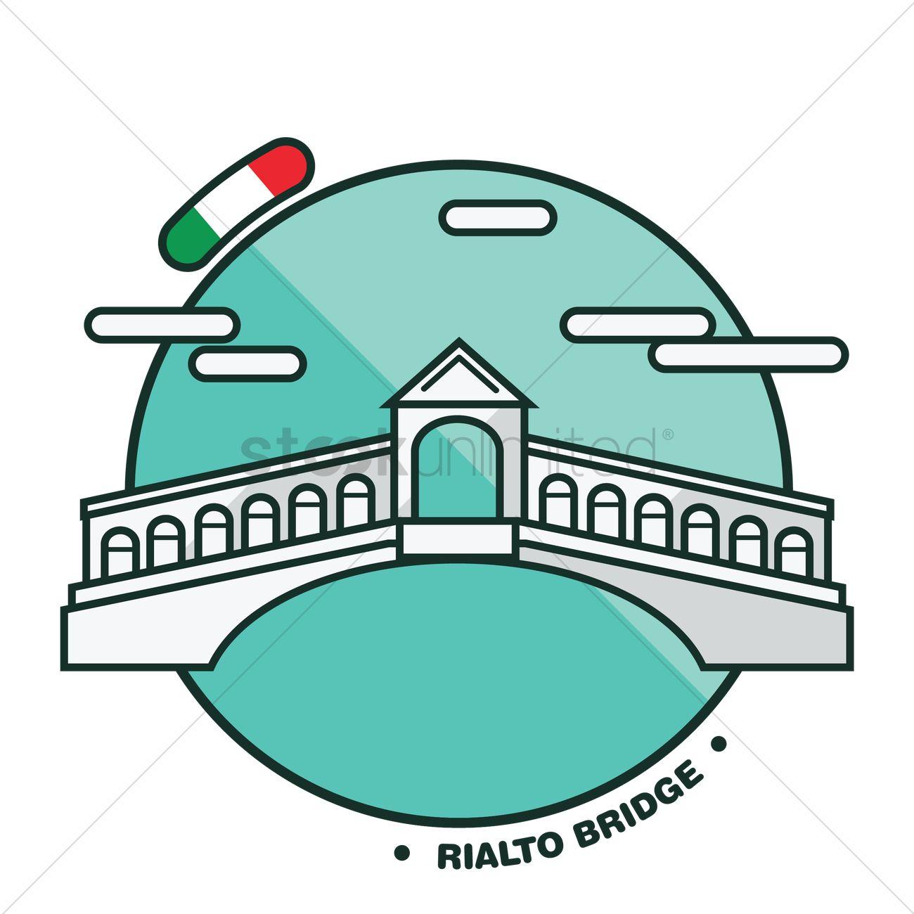 Rialto bridge Vector Image.