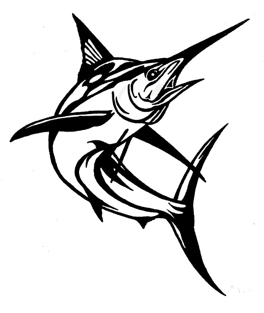 Marlin clipart black and white.