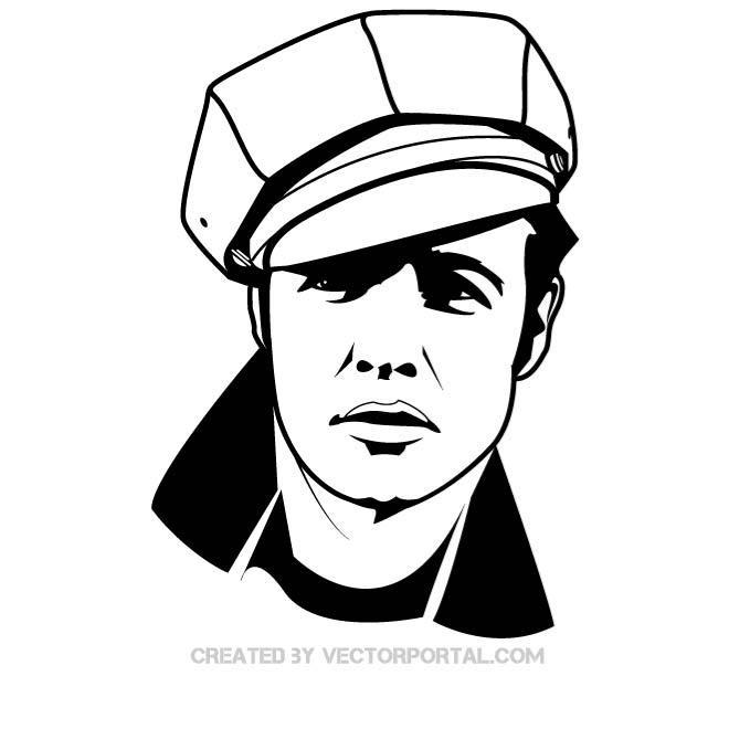 Actor Marlon Brando vector portrait..