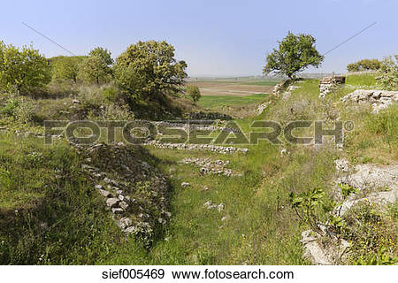 Stock Photograph of Turkey, Marmara Region, Troy, View of.