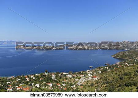 "Stock Photograph of ""Coast with the village of Sogut, Bozburun."