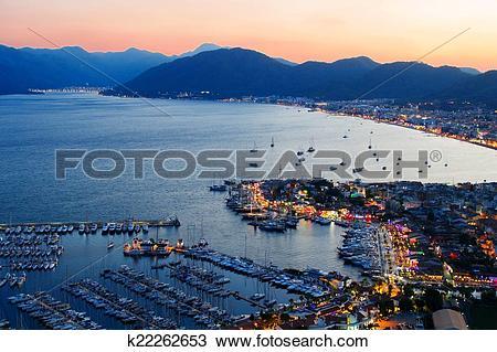 Stock Photo of View of Marmaris harbor on Turkish Riviera by night.
