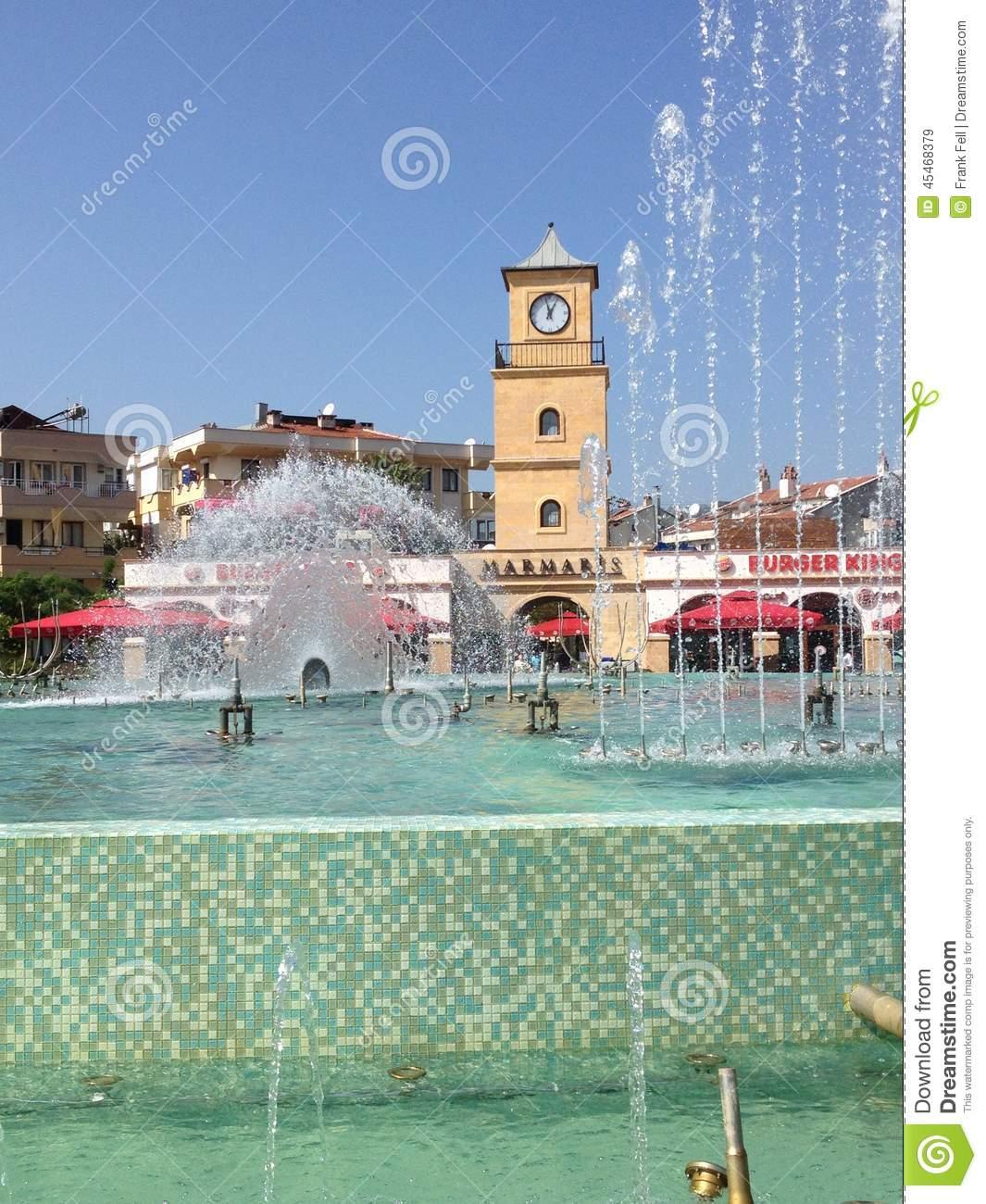 Turkey Marmaris Town Centre Fountain Editorial Stock Image.