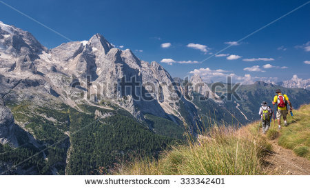 Hikers Dolomites Mountain Range Stock Photos, Royalty.