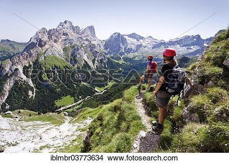 """Stock Photo of """"Climbers on the descent, Via Ferrata dei."""